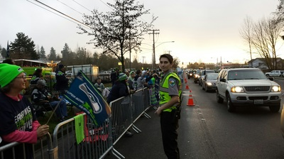 Providing security at the Seattle Seahawks send off.