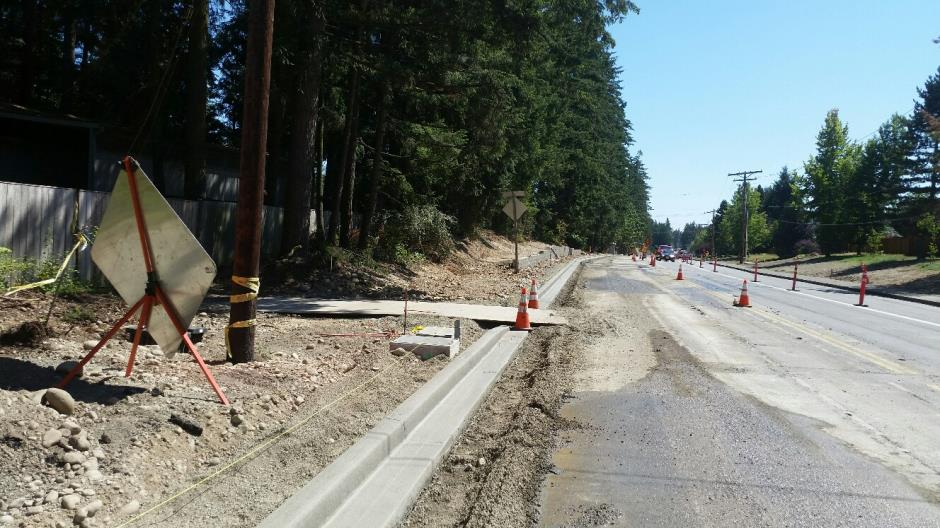 T-38 - 216th Ave SE - New Curb Looking South - 072816