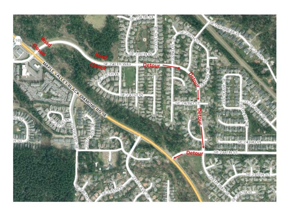Road Closure - SE 240th ST - Feb 2018